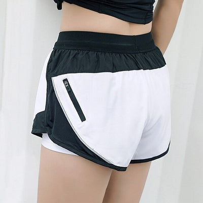 white-Women Sports Shorts For Yoga two Layer With Zipper Pocket
