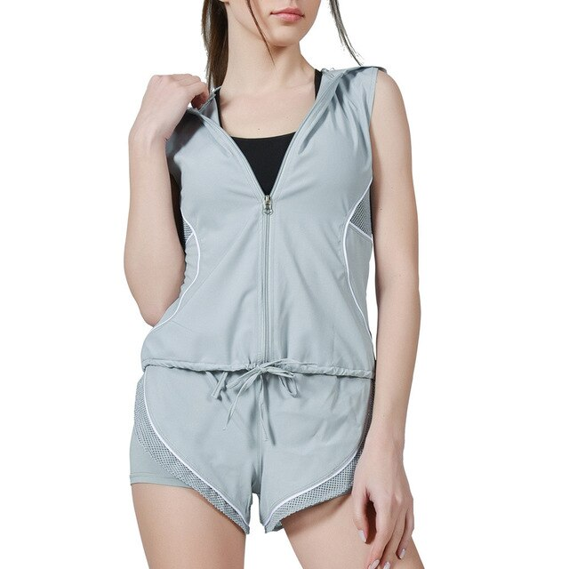 gray-Women's  Zipper Hooded Tops Vest And 2 in 1 Shorts set for running