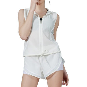 white-Women's  Zipper Hooded Tops Vest And 2 in 1 Shorts set for running