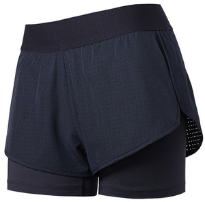 Black-Back Zipper Pocket  Women's 2 in 1 Quick Dry Jogging Shorts
