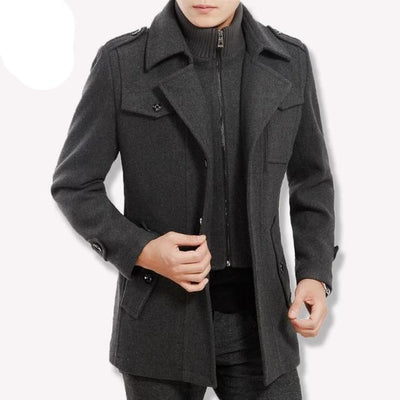 gray traverse zipper-Best men's casual jacket black cashmere coat with pocket for winter