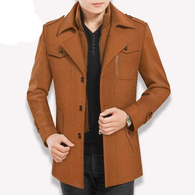 brown vertical-Best men's casual jacket black cashmere coat with pocket for winter