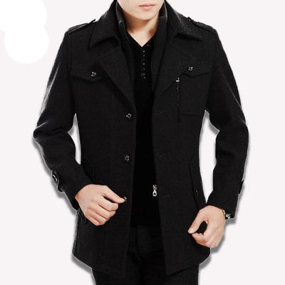 black vertical-Best men's casual jacket black cashmere coat with pocket for winter