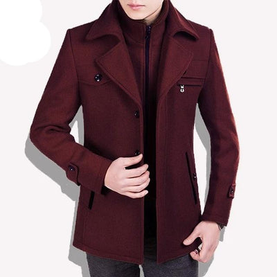 red traverse-Best men's casual jacket black cashmere coat with pocket for winter