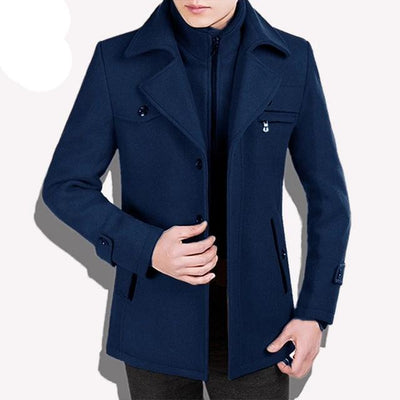 royal blue-Best men's casual jacket black cashmere coat with pocket for winter