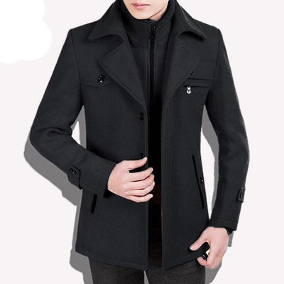black traverse-Best men's casual jacket black cashmere coat with pocket for winter