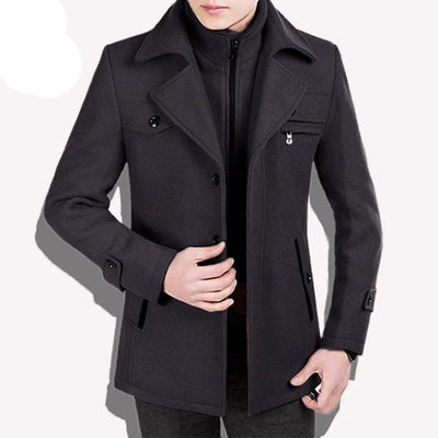grey traverse-Best men's casual jacket black cashmere coat with pocket for winter