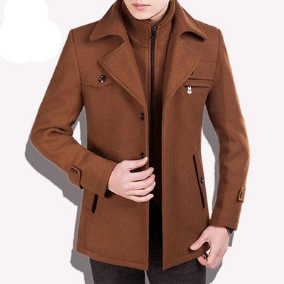 brown traverse zip Best men's casual jacket black cashmere coat with pocket for winter