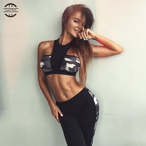 Women Sportswear Crop Top and Camouflage Print Tracksuit Pants 2 Pcs Set