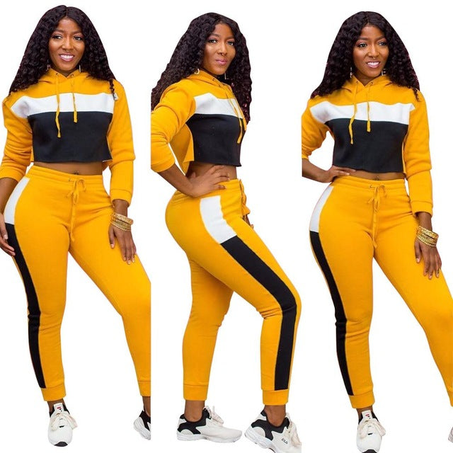 Women's plus size activewear outfits Casual Hoodies Sweatshirt Top + Pants Suit Color Patchwork
