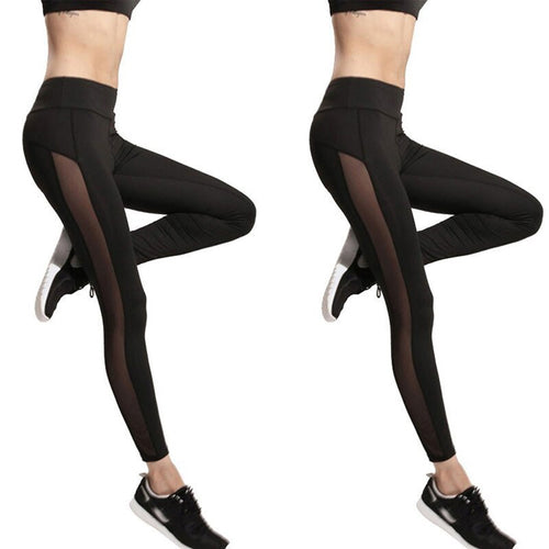 Women Mesh Splice High Waist Black Workout Leggings