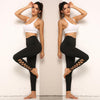 Women Solid High Waist Half Bandage Black Yoga Pants