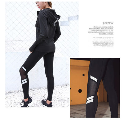 Reflective Night Run Mesh Patchwork Black Yoga Pants