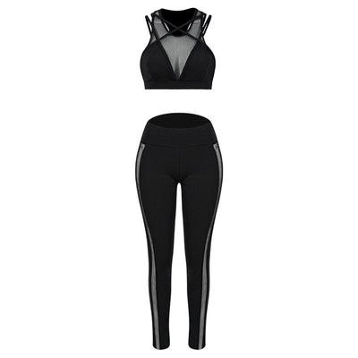 1-Women's Black Yoga Pants + Cross strappy sports bra black set