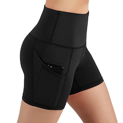 Women High Waist Quick Drying black shorts with phone pocket