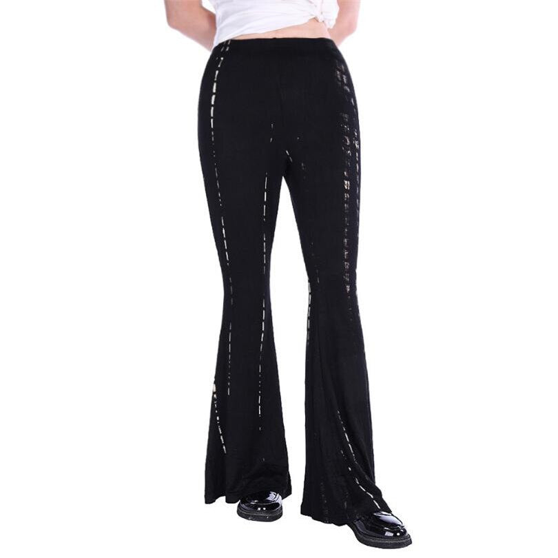 Wide Leg Pants Ladies  Black Plus Size Trousers