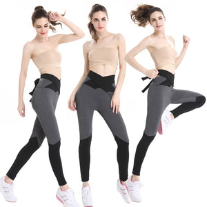 Women Black Gray Patchwork Capri Yoga Pants