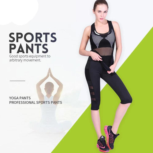 Women Half-length Mesh Black Capri Yoga Pants