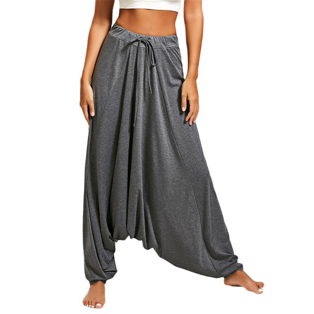 Women  Black High Waist Loose Harem Yoga Pants
