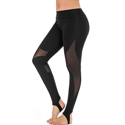 Women's tight-fitting stitching breathable black yoga pants