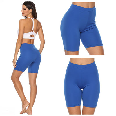 Woment Yoga High Waisted Workout Solid Shorts-blue