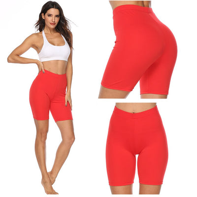 Woment Yoga High Waisted Workout Solid Shorts-red