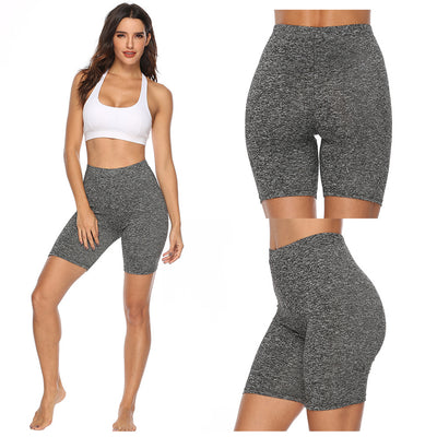 Woment Yoga High Waisted Workout Solid Shorts-gray