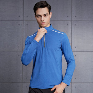 blue1-Men's Compression workout training tops plus size xxl