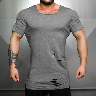 gray-Men's Cotton Workout bodybuilding training short sleeve t-shirt