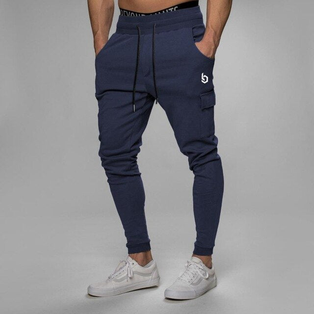 a-Men's Navy blue workout joggers sweatpants