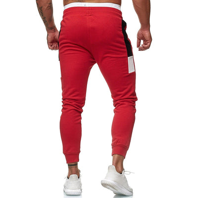 a-Men's red workout joggers pants