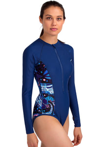 UV Patchwork Rashguard Long Sleeve Rash Guard One Piece Swimwear With Front Zipper