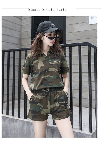 Plus size women's tan camo shorts+polo shirts set