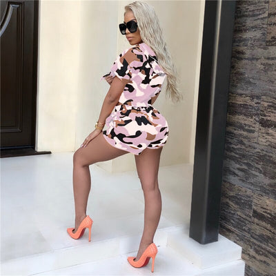 women's camo workout shorts with Hooded Crop Top Outfits set