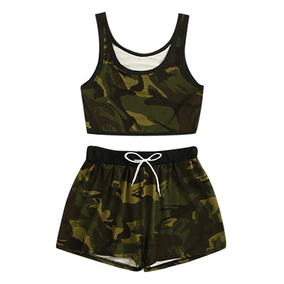 Women's drawstring shorts and Top Tank Top Vest Set