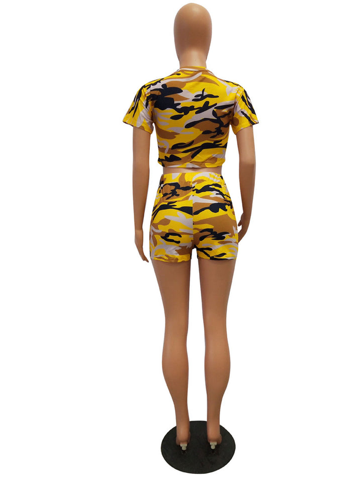 Yellow camo shorts + crop top women's Plus Size 2XL
