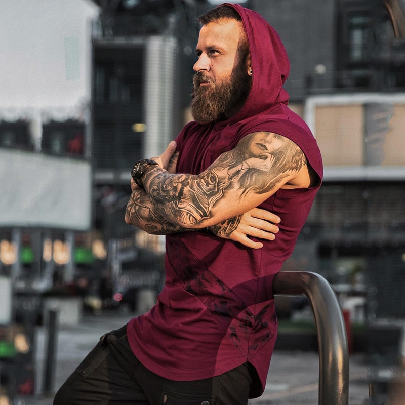 Men's Sleeveless Hoodie Bodybuilding  Tank Tops