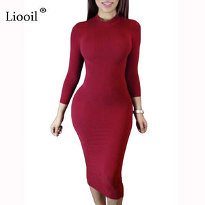 Turtleneck Long Sleeve Black Wine Red Midi Bodycon Dresses