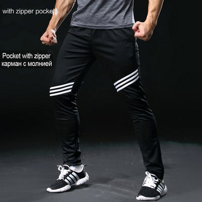 Men's Football Soccer Training Pants With Zipper Pocket