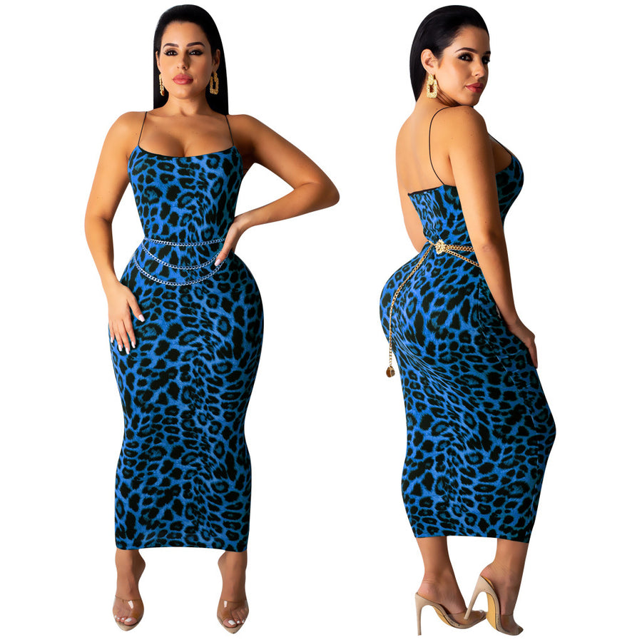 Leopard Print Spaghetti Strap Bodycon Night Club Dresses