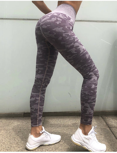 Seamless high waist Thick fabric camo yoga pants