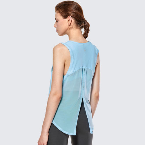 Women's Quick Dry Sleeveless Mesh Running Tie Back Workout Tank Top