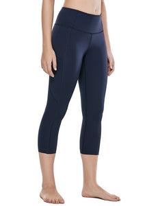 Women's Naked Feeling High Waist Capri Tights Sports Leggings with Side Pockets
