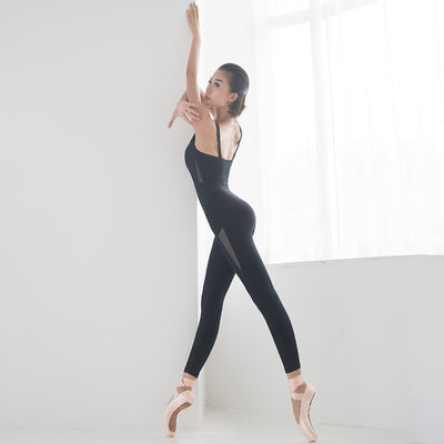 One piece Women ballet dance bodysuit- bra & leggings backless yoga jumpsuit