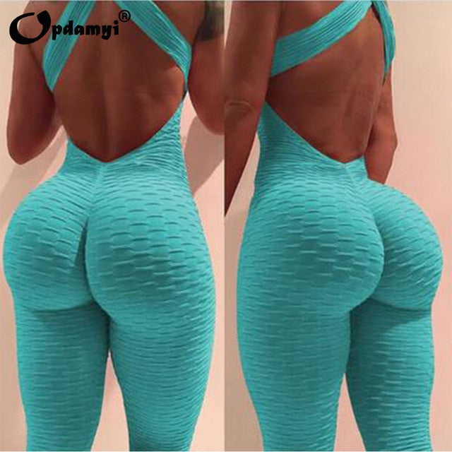 Cross Backless Yoga Pants Bodysuit Set