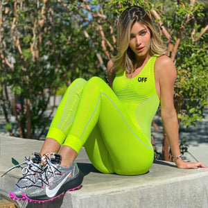 Green Rid Tight Dry Fit One Piece Sleveless Yoga Workout Bodysuit