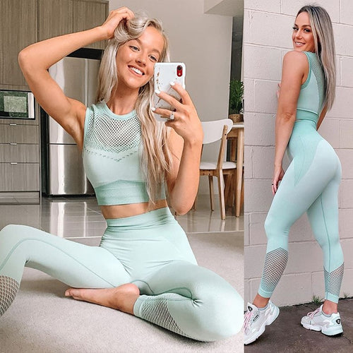Seamless  Crop Top T-Shirt Leggings Workout Clothes