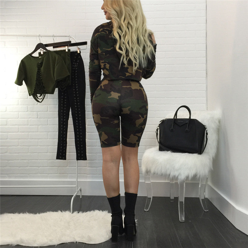 Camo bike shorts women's Two Piece Set