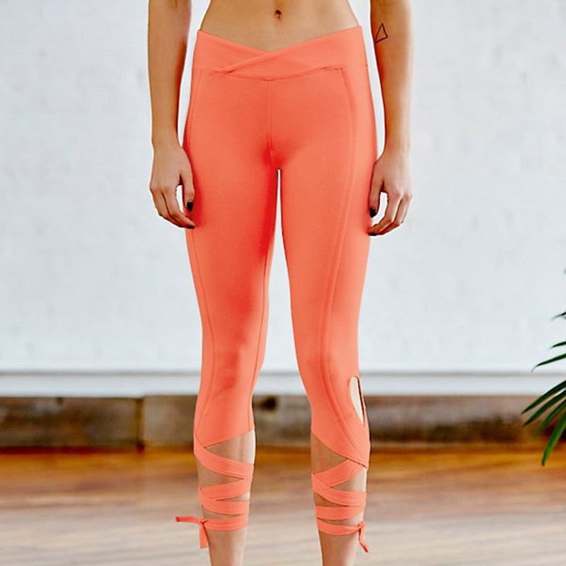 Cross High Waist Elastic Sporting Women Leggings