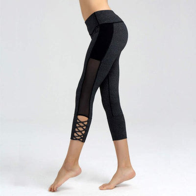 Opening Cross Straps  Black Yoga Capri Tights Pants
